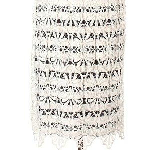 Chico's Lace Overlay Striped Skirt White/Black NWT Size 1 (Medium) Calf Length